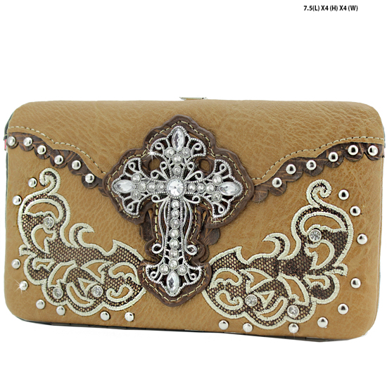 2070-W46-LCR-BROWN - WHOLESALE HARD FRAME CROSS WESTERN WALLETS