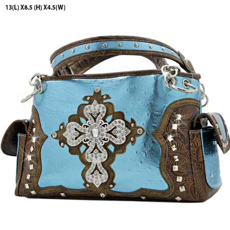 GP-133-LCR-1967-BLUE - RHINESTONE CROSS HANDBAGS