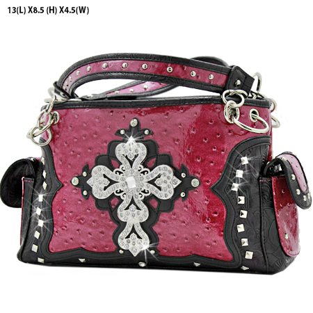 GP-133-LCR-1967-HTPK - RHINESTONE CROSS HANDBAGS