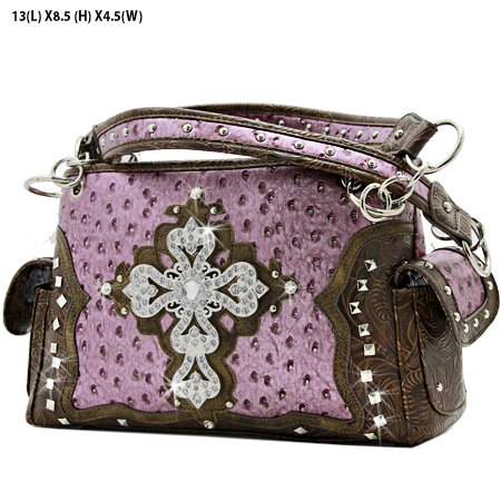 GP-133-LCR-1967-PUR - RHINESTONE CROSS HANDBAGS