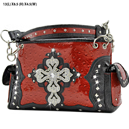 GP-133-LCR-1967-RED - RHINESTONE CROSS HANDBAGS