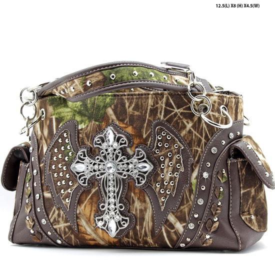 G133W1CM-MLF-BROWN - WHOLESALE RHINESTONE CROSS CAMOUFLAGE HANDBAGS