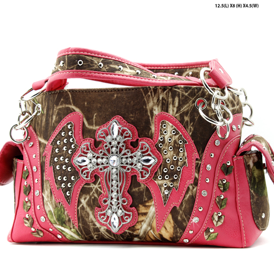 G133W1CM-MLF-PINK - WHOLESALE RHINESTONE CROSS CAMOUFLAGE HANDBAGS