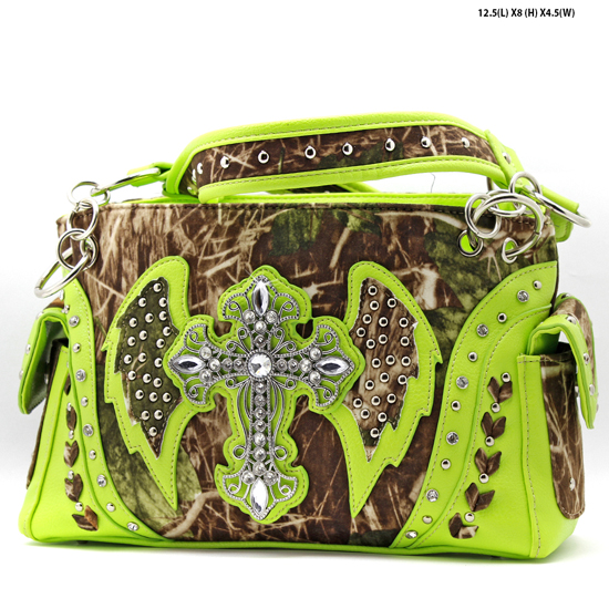 G133W1CM-MLF-GREEN - WHOLESALE RHINESTONE CROSS CAMOUFLAGE HANDBAGS