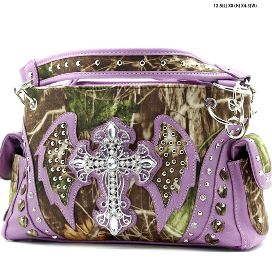 G133W1CM-MLF-PUR - WHOLESALE RHINESTONE CROSS CAMOUFLAGE HANDBAGS