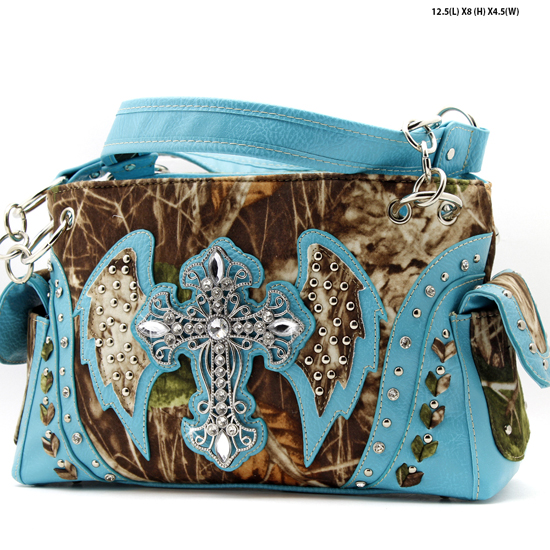 G133W1CM-MLF-TURQ - WHOLESALE RHINESTONE CROSS CAMOUFLAGE HANDBAGS