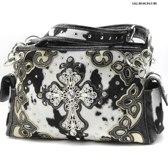 LCR-133-W28-COW-BLK-WT - RHINESTONE COW PRINT CROSS PURSES