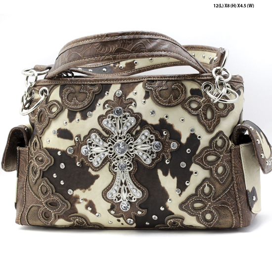 LCR-133-W28-COW-BROWN - RHINESTONE COW PRINT CROSS PURSES