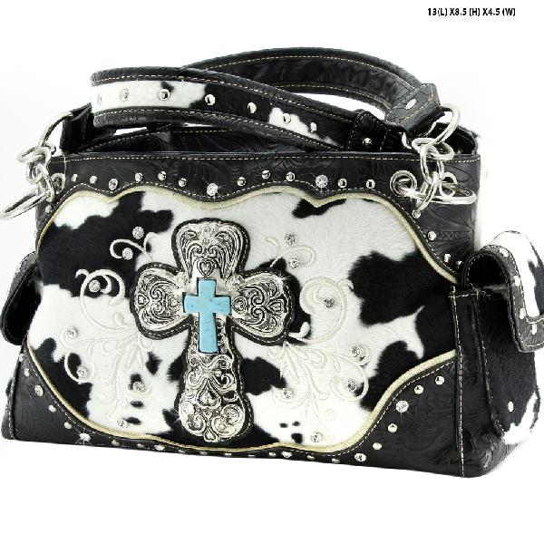 COW-133-47-BLK-WT - WESTERN RHINESTONE CROSS PURSES CONCEALED WEAPON HANDBAGS