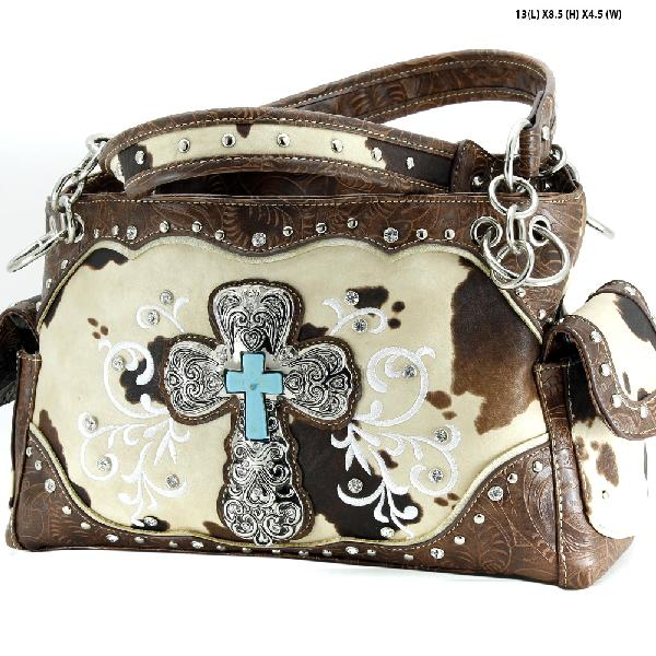 COW-133-47-BROWN - WESTERN RHINESTONE CROSS PURSES CONCEALED WEAPON HANDBAGS