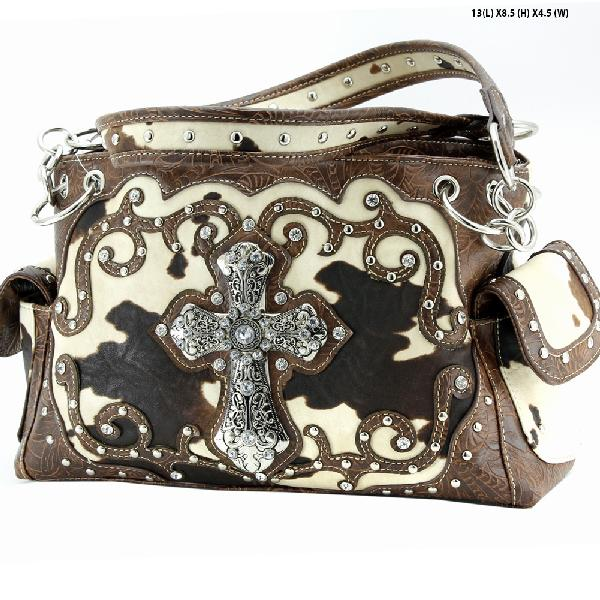 COW-133-W7-BROWN - WESTERN RHINESTONE CROSS PURSES CONCEALED WEAPON HANDBAGS
