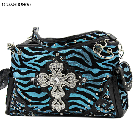 G145-W10NFZLCR-BLUE - RHINESTONE CROSS HANDBAGS