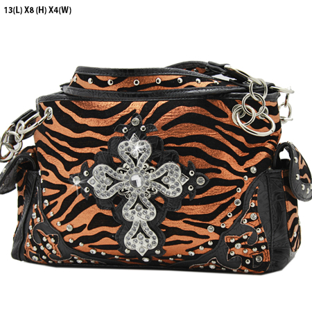 G145-W10NFZLCR-ORANGE - RHINESTONE CROSS HANDBAGS