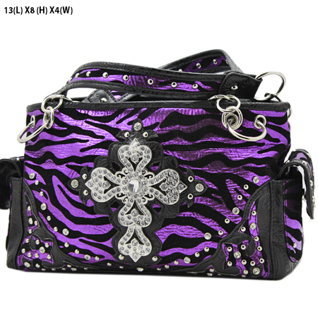 G145-W10NFZLCR-PURPLE - RHINESTONE CROSS HANDBAGS
