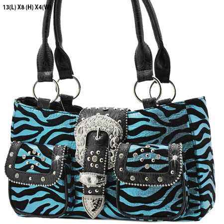 G201-NFZ-BLUE - WHOLESALE RHINESTONE BUCKLE HANDBAGS