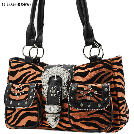 G201-NFZ-ORANGE - WHOLESALE RHINESTONE BUCKLE HANDBAGS
