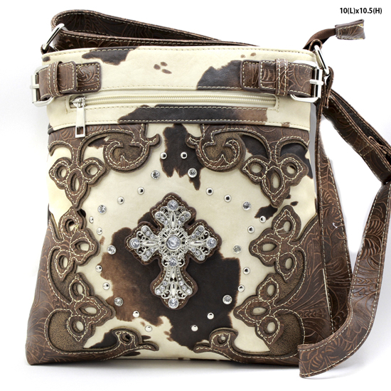 LCR-604-W28-COW-BROWN - WESTERN RHINESTONE CROSS STUDDED MESSENGER HANDBAGS