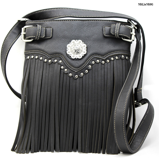 W34-604-BLACK - WESTERN TASSEL MESSENGER CROSS BODY BAGS HIPSTER PURSE
