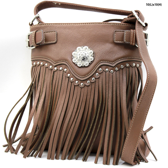 W34-604-BROWN - WESTERN TASSEL MESSENGER CROSS BODY BAGS HIPSTER PURSE