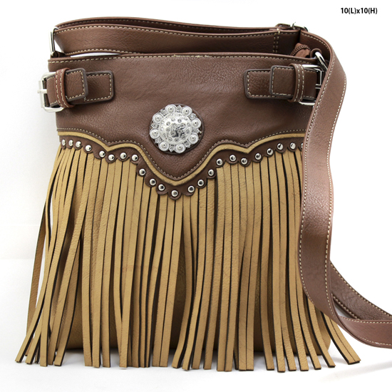 W34-604-TAN - WESTERN TASSEL MESSENGER CROSS BODY BAGS HIPSTER PURSE