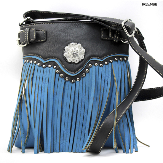 W34-604-TURQ - WESTERN TASSEL MESSENGER CROSS BODY BAGS HIPSTER PURSE