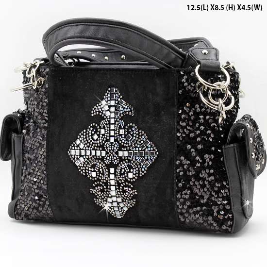 NEW-Q-921-LCR-BLACK - RHINESTONE CRYSTAL CROSS HANDBAGS