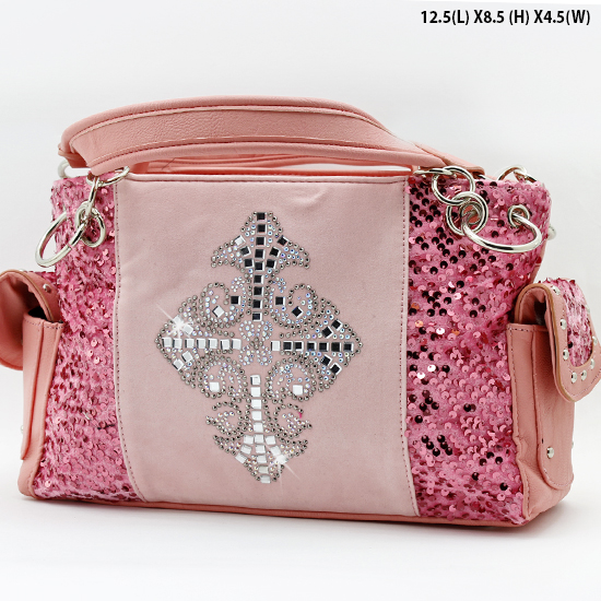 NEW-Q-921-LCR-PINK - RHINESTONE CRYSTAL CROSS HANDBAGS