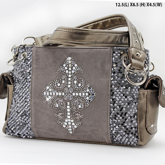 NEW-Q-921-LCR-PEWTER - RHINESTONE CRYSTAL CROSS HANDBAGS