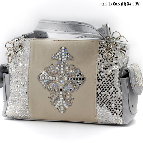 NEW-Q-921-LCR-SILVER - RHINESTONE CRYSTAL CROSS HANDBAGS