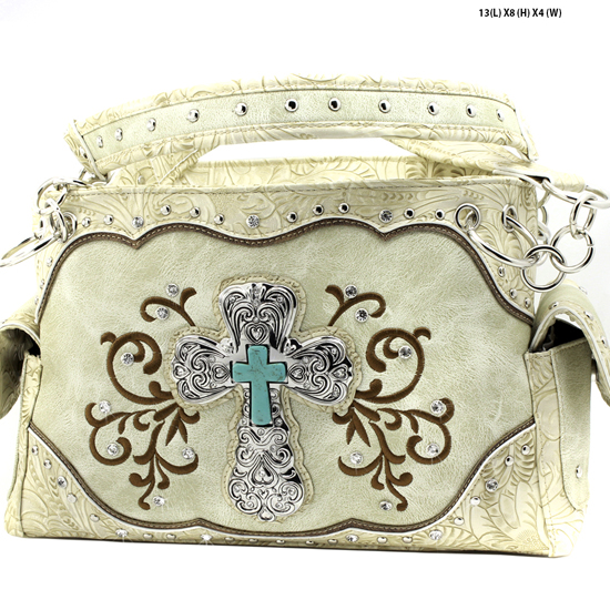 939-W47-LCR-BEIGE - RHINESTONE CROSS HANDBAGS CONCEALED WEAPON PURSES