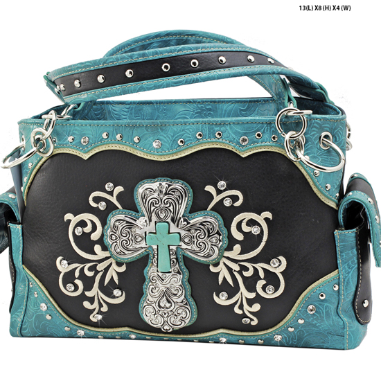 939-W47-LCR-BLACK-TURQ - RHINESTONE CROSS HANDBAGS CONCEALED WEAPON PURSES