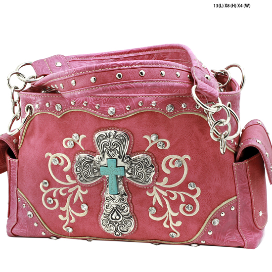 939-W47-LCR-HTPK - RHINESTONE CROSS HANDBAGS CONCEALED WEAPON PURSES
