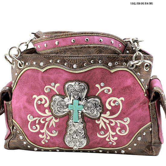 939-W47-LCR-LT-PUR - RHINESTONE CROSS HANDBAGS CONCEALED WEAPON PURSES