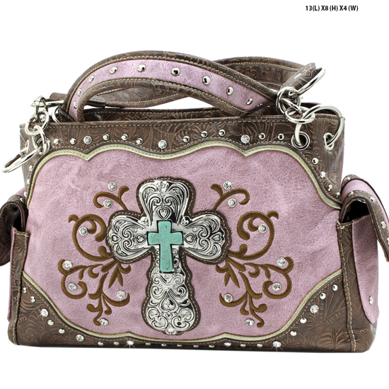939-W47-LCR-PINK - RHINESTONE CROSS HANDBAGS CONCEALED WEAPON PURSES