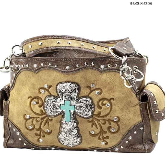 939-W47-LCR-TAN - RHINESTONE CROSS HANDBAGS CONCEALED WEAPON PURSES