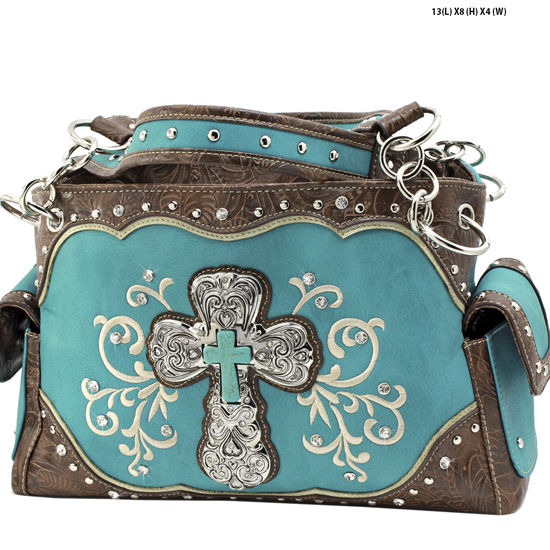 939-W47-LCR-TURQ - RHINESTONE CROSS HANDBAGS CONCEALED WEAPON PURSES