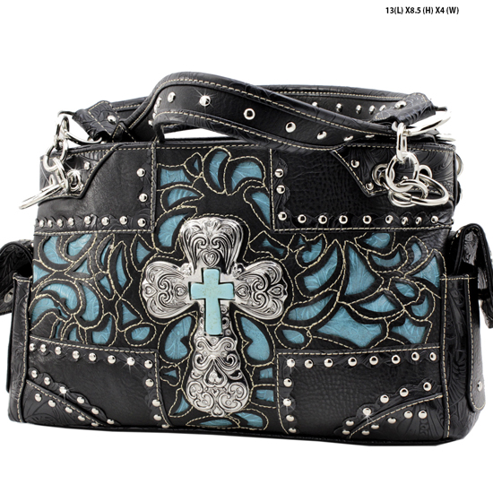 939-NW77-LCR-BLK-TQ - RHINESTONE CROSS HANDBAGS CONCEALED WEAPON PURSES