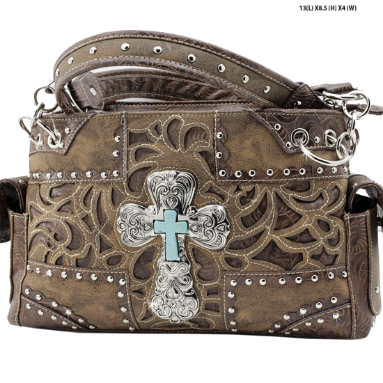 939-NW77-LCR-BROWN - RHINESTONE CROSS HANDBAGS CONCEALED WEAPON PURSES
