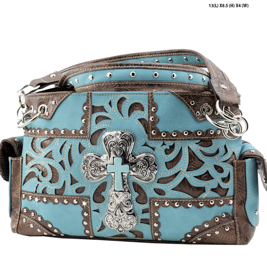 939-NW77-LCR-TURQ - RHINESTONE CROSS HANDBAGS CONCEALED WEAPON PURSES