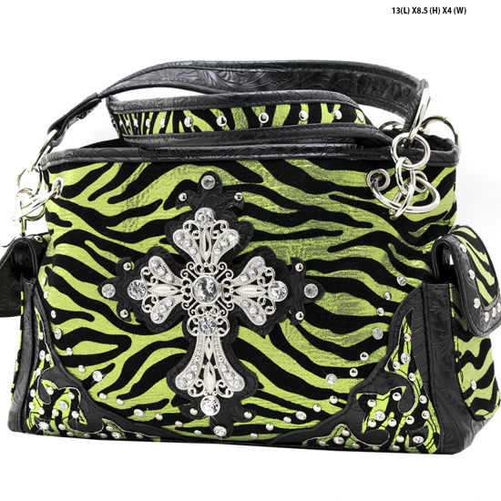 W10-FZ-LCR-939-GREEN - RHINESTONE CROSS HANDBAGS CONCEALED WEAPON PURSES