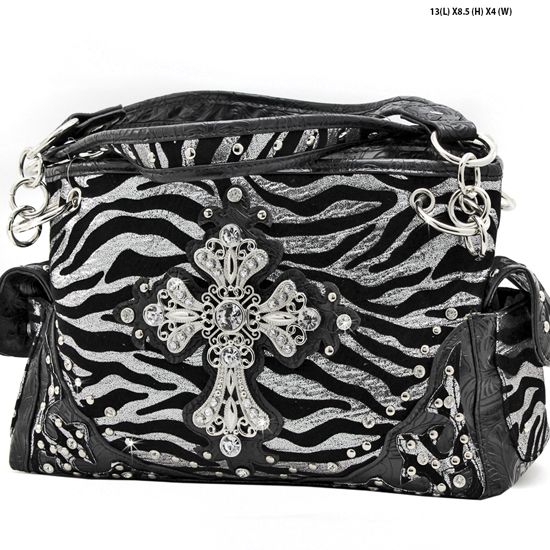 W10-FZ-LCR-939-BLACK - RHINESTONE CROSS HANDBAGS CONCEALED WEAPON PURSES