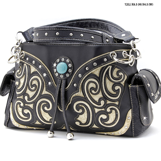 TASS-939-W13-BLK-BEIGE - WHOLESALE WESTERN RHINESTONE CROSS HANDBAGS