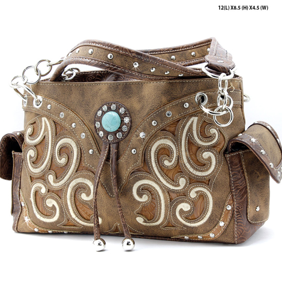 TASS-939-W13-BROWN - WHOLESALE WESTERN RHINESTONE CROSS HANDBAGS
