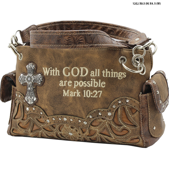 G939-14-ALL-LT-BROWN - WESTERN RHINESTONE BIBLE VERSE HANDBAGS