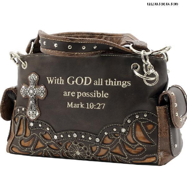 G939-14-ALL-DK-BROWN - WESTERN RHINESTONE BIBLE VERSE HANDBAGS