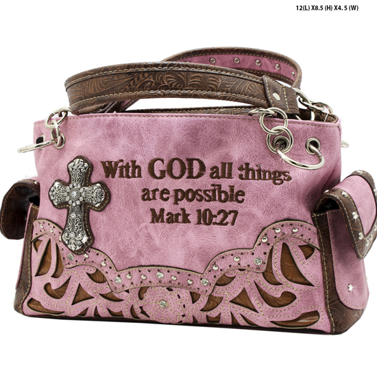 G939-14-ALL-LT-PINK - WESTERN RHINESTONE BIBLE VERSE HANDBAGS
