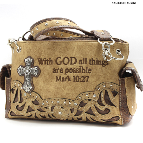 G939-14-ALL-LT-TAN - WESTERN RHINESTONE BIBLE VERSE HANDBAGS