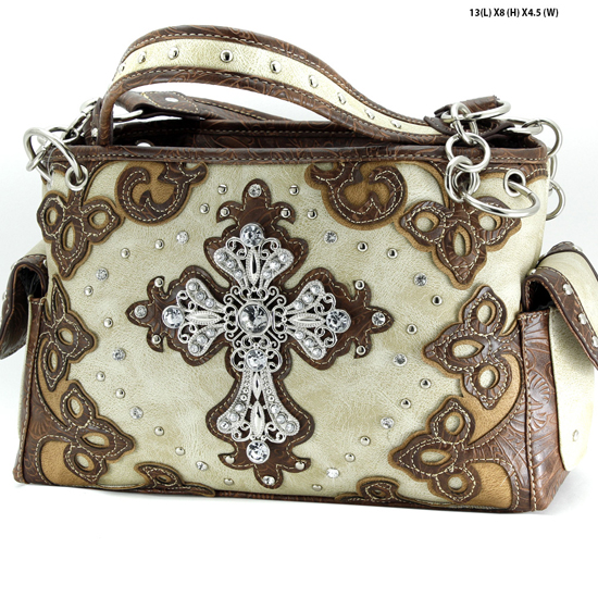 G939-W28-LCR-BEIGE - WESTERN RHINESTONE CROSS HANDBAGS CONCEALED CARRY PURSES