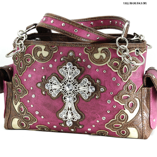 G939-W28-LCR-PUR - WESTERN RHINESTONE CROSS HANDBAGS CONCEALED CARRY PURSES