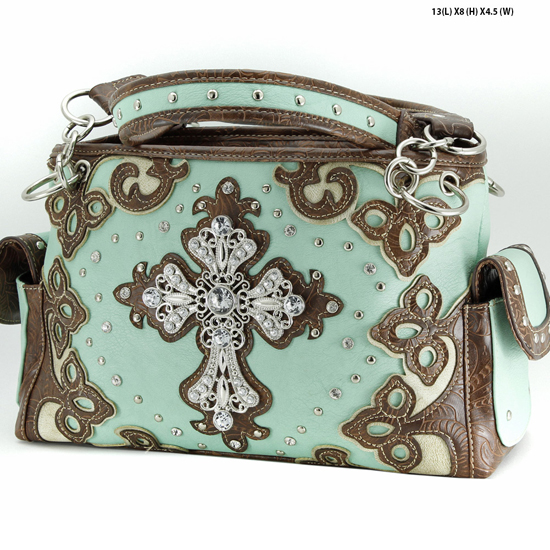 G939-W28-LCR-MINT - WESTERN RHINESTONE CROSS HANDBAGS CONCEALED CARRY PURSES